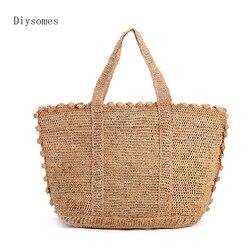 Женская Соломенная Сумка diysoms Love Grass, ручная работа, лесная пляжная дорожная сумка для отпуска