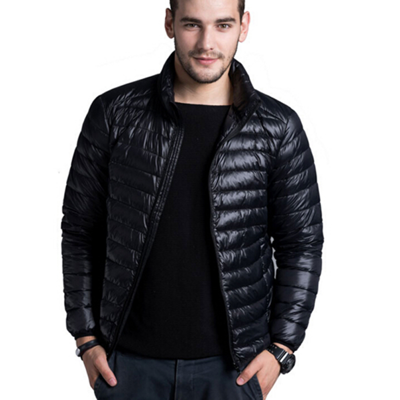 Winter Padded Jacekt Men's Brand Thin Duck Down Collar Casual Warm Coats Outerwear Parka Jackets Plus Size 5XL 6XL Down Jackets