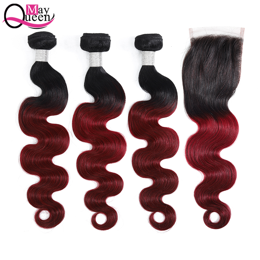 May Queen Brazilian Body Wave Ombre Bundles With Closure Hair Weave Remy 1B Burgundy
