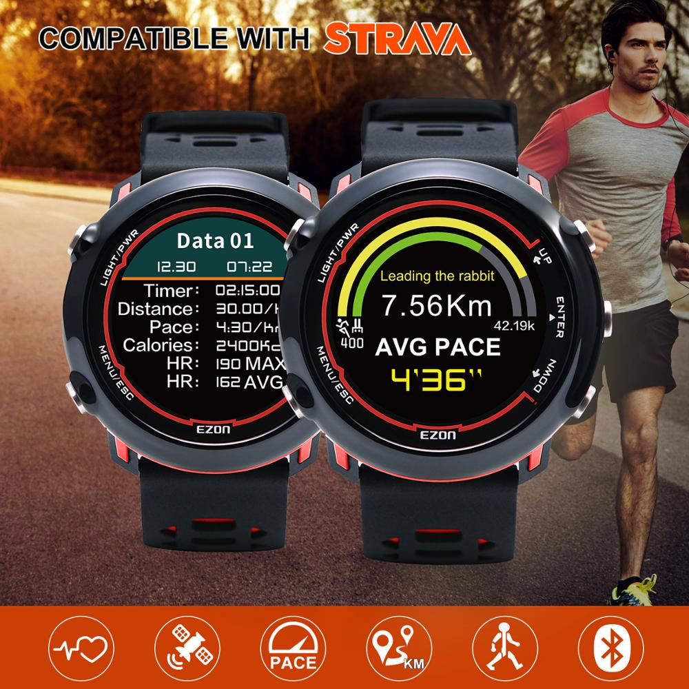 EZON Sports-Watch Heart-Rate Outdoor Running Smart Waterproof 5ATM Color-Display Wrist-Based