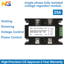 цена на Free Shipping Single-phase SSR 25A fully isolated phase angle thyristor power controller dimming heating control