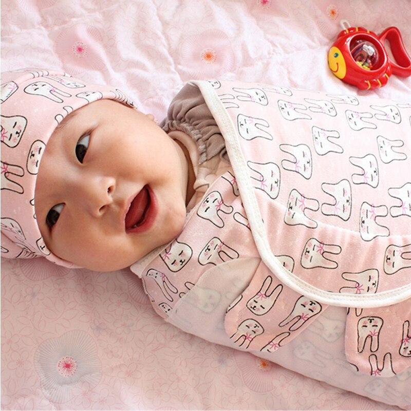 2Pcs/Set Baby Swaddle With Hat Infant Wrap Parisarc 100% Cotton Soft Thin Newborn Baby Blanket Swaddling Wrap Blanket Sleepsack