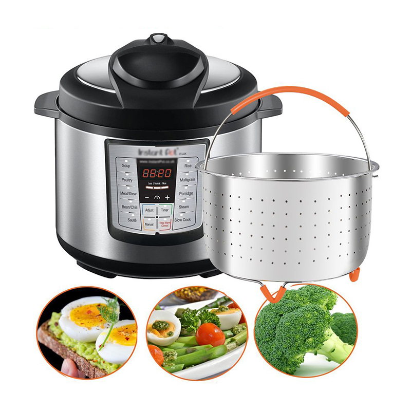 Steamer Basket With Silicone Handle Multi-Function 304 Stainless Steel Rice Cooker Anti-scald Pressure Cooker Stackable Steamer