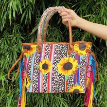 W753 ZWPON Tie Dye Sunflower Colorful Tassel Should Bag for Women 2020 Christmas Vegan Leather Handbag Stripe Leopard Tote Bag(China)