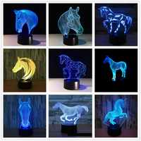 3D Horse Unicorn pony Remote Control 7 Color 3d Visual Led Night Lights Touch Usb Table Lampara Lampe Baby Sleeping Nightlight