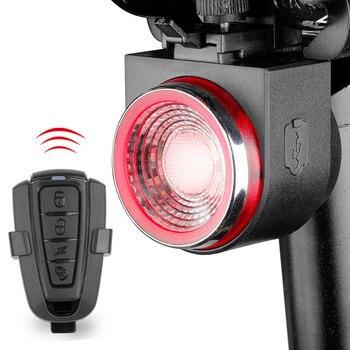 Led usb recarregável luz da bicicleta traseira do freio automático detectado lâmpada da cauda da bicicleta controle remoto sem fio ciclismo lanterna traseira alarme sino 1