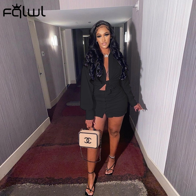 2 Piece Set Women Crop Top and Skirt Sexy Club Outfits Long Sleeve Bodycon 5