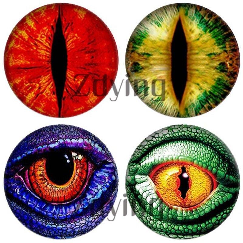 Zdying 10pcs/lot Animal Dragon/Cat/Snake Eyes Round Glass Cabochon Photo Dome Beads Demo Flat Back Making Jewelry Findings(China)