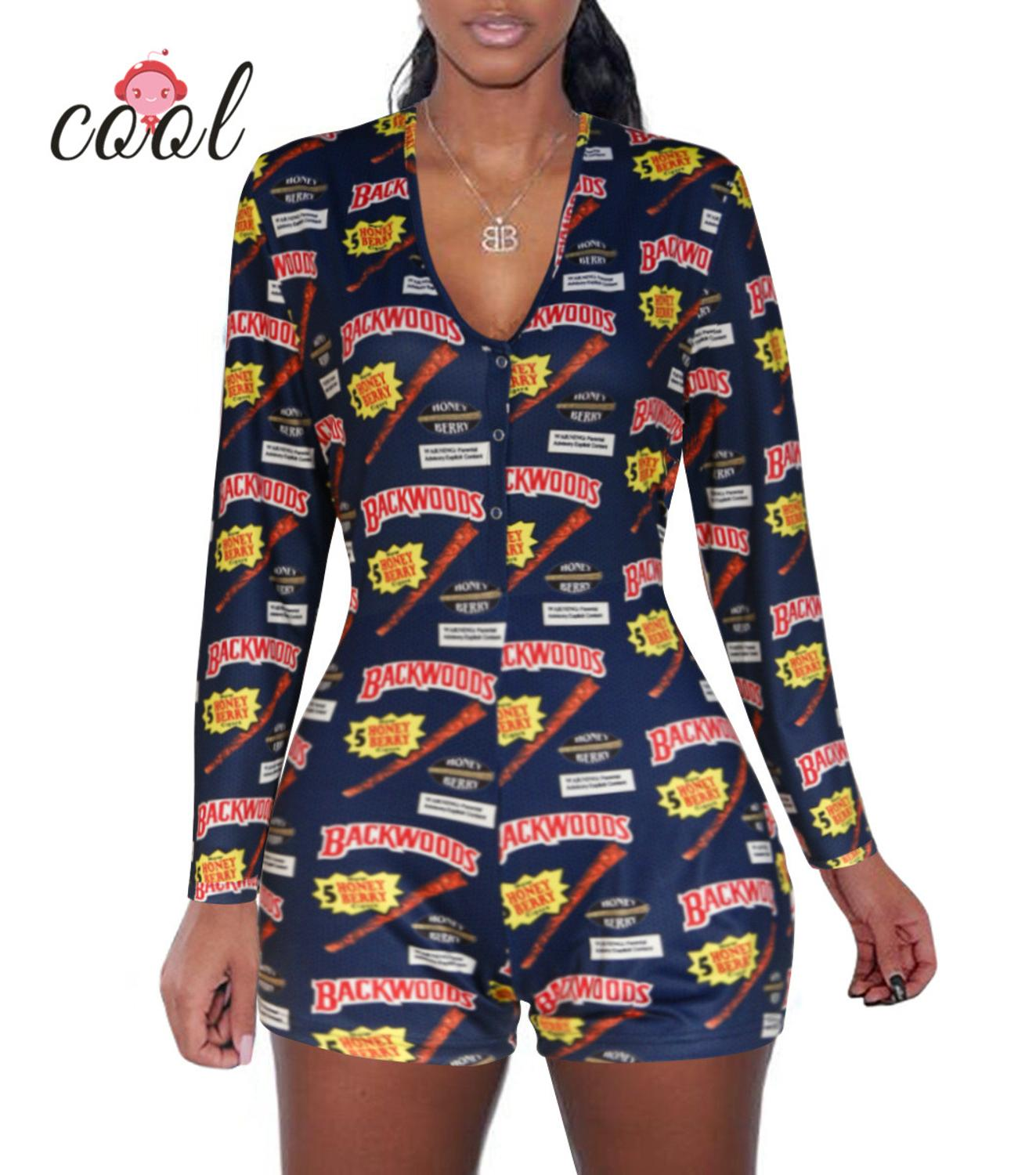 Long Sleeve V Neck Bodycon Stretchy Backwoods Onesie Shorts Rompers Adult Onesie Pajamas For Women