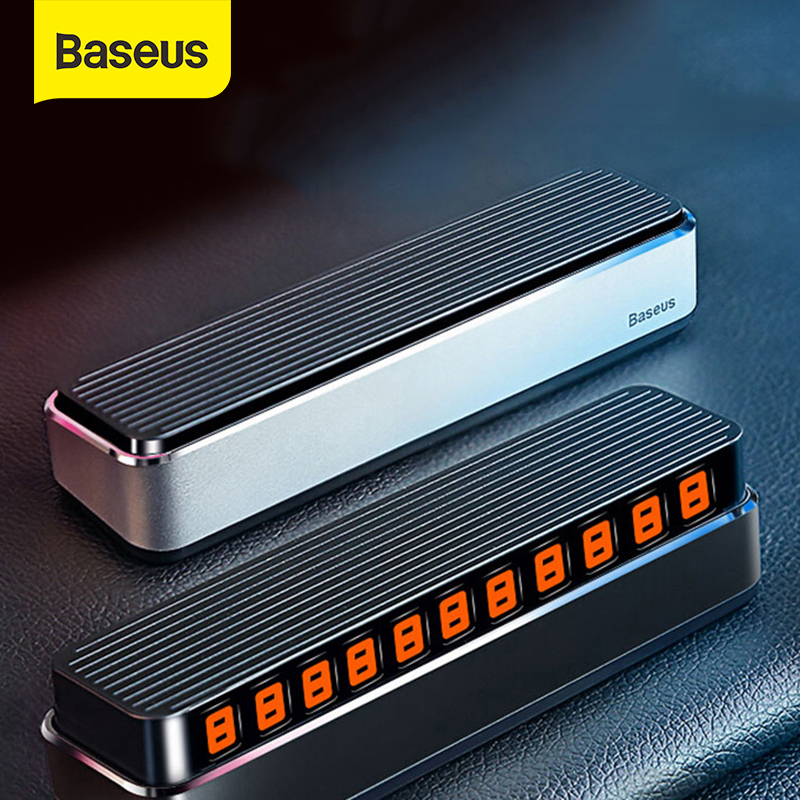 Baseus Temporary Parking Card Car Holder Luminous Night Light Phone Number Plate Car Styling Telephone Number Card Stickers