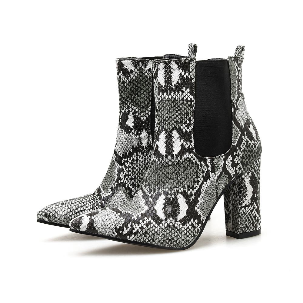 Купить с кэшбэком 2020 Snake Print Pointed Toe Women's Ankle Boots Fashion Sleeve High Heels Elegant Boots Woman NIUFUNI Women Shoes Size 35-40