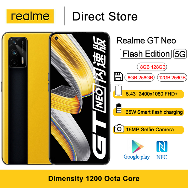 """Realme GT Neo Flash Edition 5G NFC Mobile Phone 6.43"""" 8GB/12GB RAM Dimensity 1200 Octa Core 64MP 65W Fast Charge Smartphone 1"""