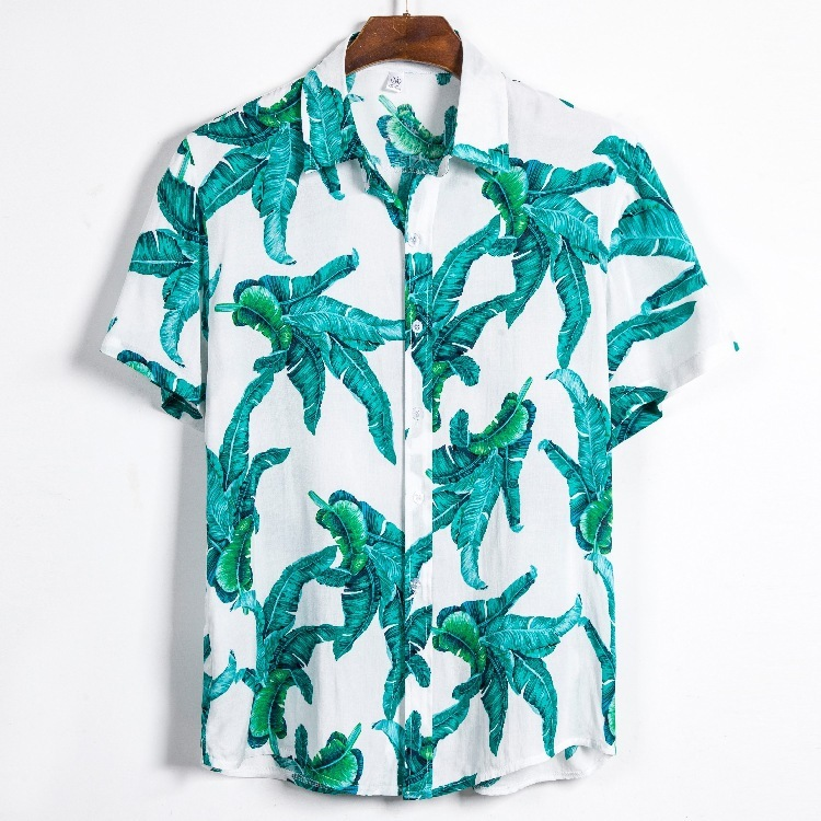 Fivepence Sleeve Shirt Male Loose Sandy Beach Flower Shirt Hawaii Seaside On Vacation Short Sleeve Shirt Male Cs118