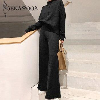 Genayooa комплект из двух предметов пуловер свитер Спортивный костюм для женщин с высокой талией трикотажные брюки с широкими штанинами для же...