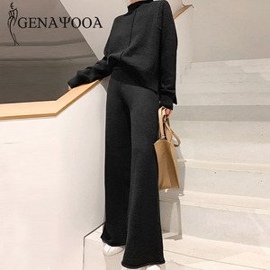Genayooa Two Piece Set Pullover Sweater Tracksuit Women High Waist Knit Wide Leg Pants Women Suit 2 Piece Set Women Winter 2020(China)
