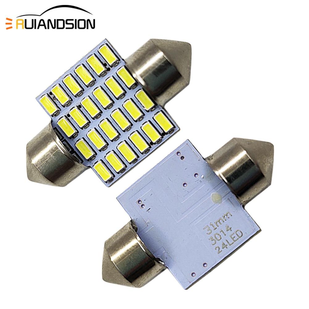 Ampoules de phares de porte | 2 pièces, C5W, 28mm 31mm 36mm 3014 24 SMD, 6000K, ampoules pour phares de porte, Festoon 1.44W 240LM