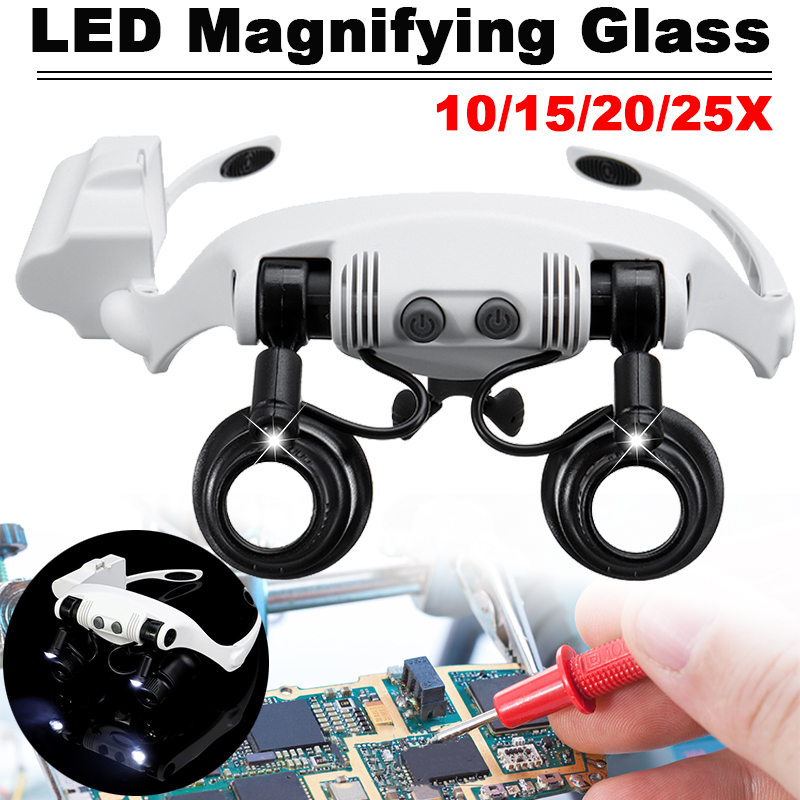 10X 15X 20X 25X Headband LED Light Glasses Magnifier Watchmaker Jewelry Optical Lens Glass Magnifier Loupe  With 8 Lens LED Lamp
