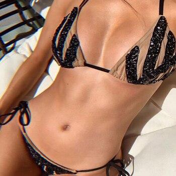 Embroidered sequined belt sexy bikini set bandage mesh pool party swimsuit mini micro thong bikini set embroidered mesh bralette set