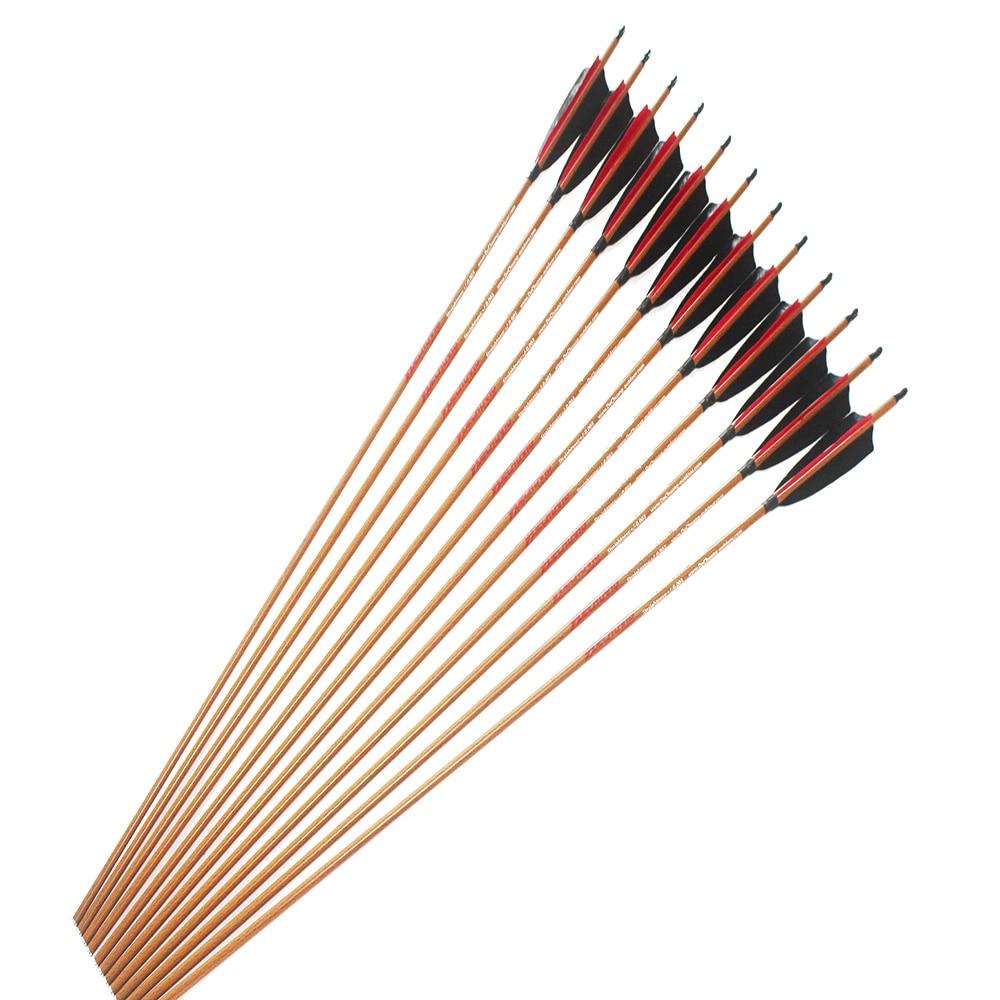 12pcs Carbon arrow shaft wood skin arrow shaft spine400//500//600 traditional bow