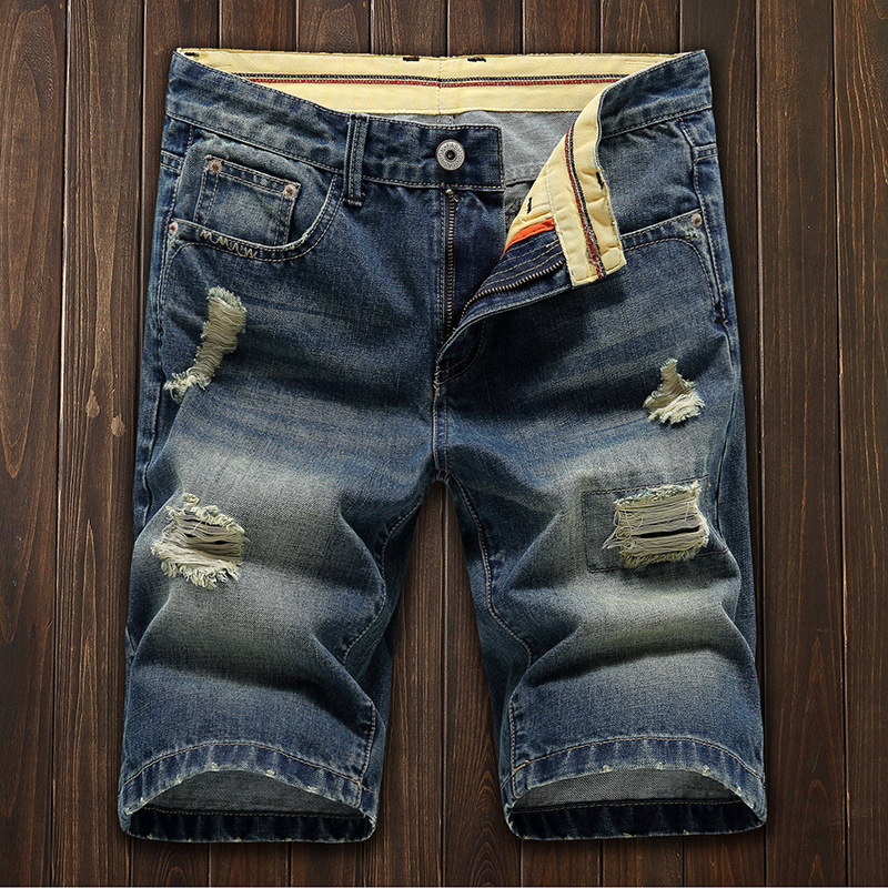 Summer Teenager Retro With Holes Denim Shorts Male STUDENT'S Shorts Slim Fit Straight-Cut Shorts Trend Line Men'S Wear