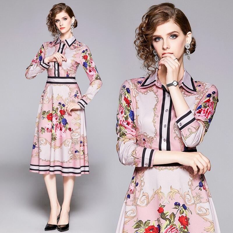 Качественное летнее Новое дизайнерское платье для подиума 2019,  женское осеннее платье с длинным рукавом и воротником, платье с  цветочным принтом розового цветаПлатья