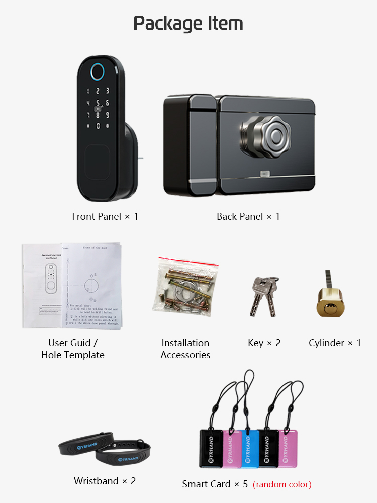 Rim-Lock Smart-Card Digital-Code Outdoor Fingerprint Waterproof Electronic Home-Security