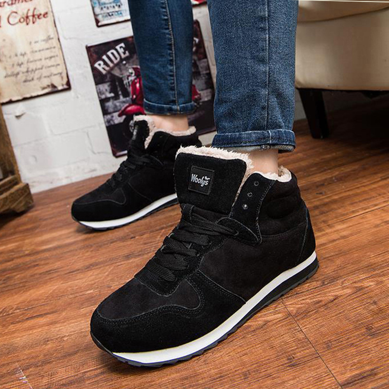Men Boots Fashion Winter Boots Men Winter Shoes Warm Ankle Boots Men Snow Boots Lace-Up Sneakers Men Shoes Blue Black Plus Size