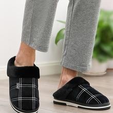 Men Shoes Male Slipper Gingham Non-Slip Plush Waterproof Velvet Winter Indoor for Home