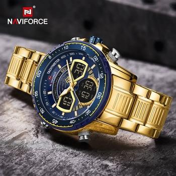 NAVIFORCE Mens Military Sports Waterproof Watches Luxury Analog Quartz Digital Wrist Watch for Men Bright Backlight Gold Watches 5
