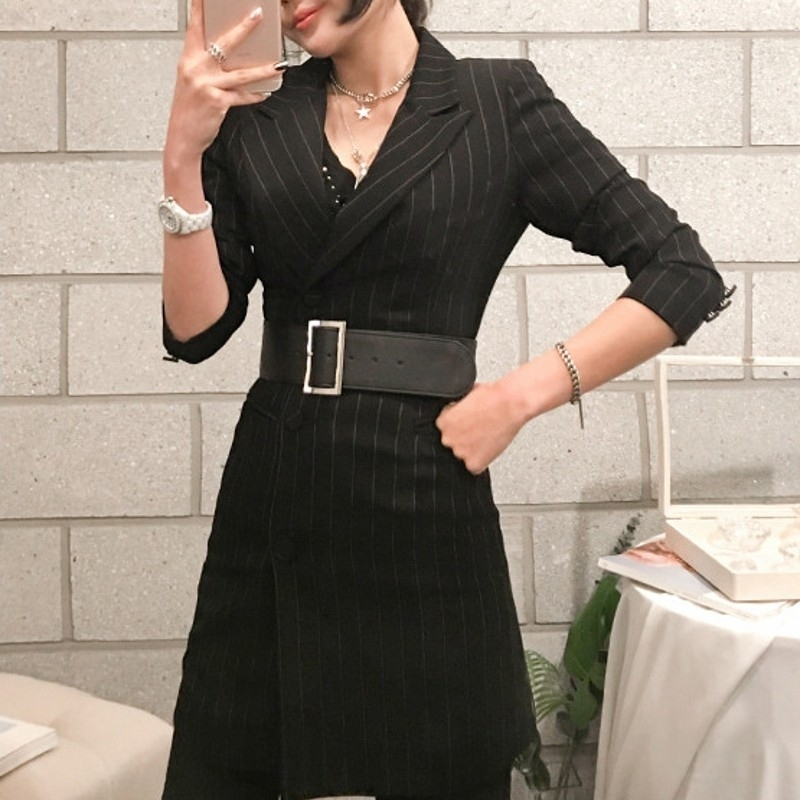 Office Lady Blazer Woman Clothes Autumn 2020 Black Stripes Notched Collar Long Sleeve Suits Jackets With Sashes Casual Clothing