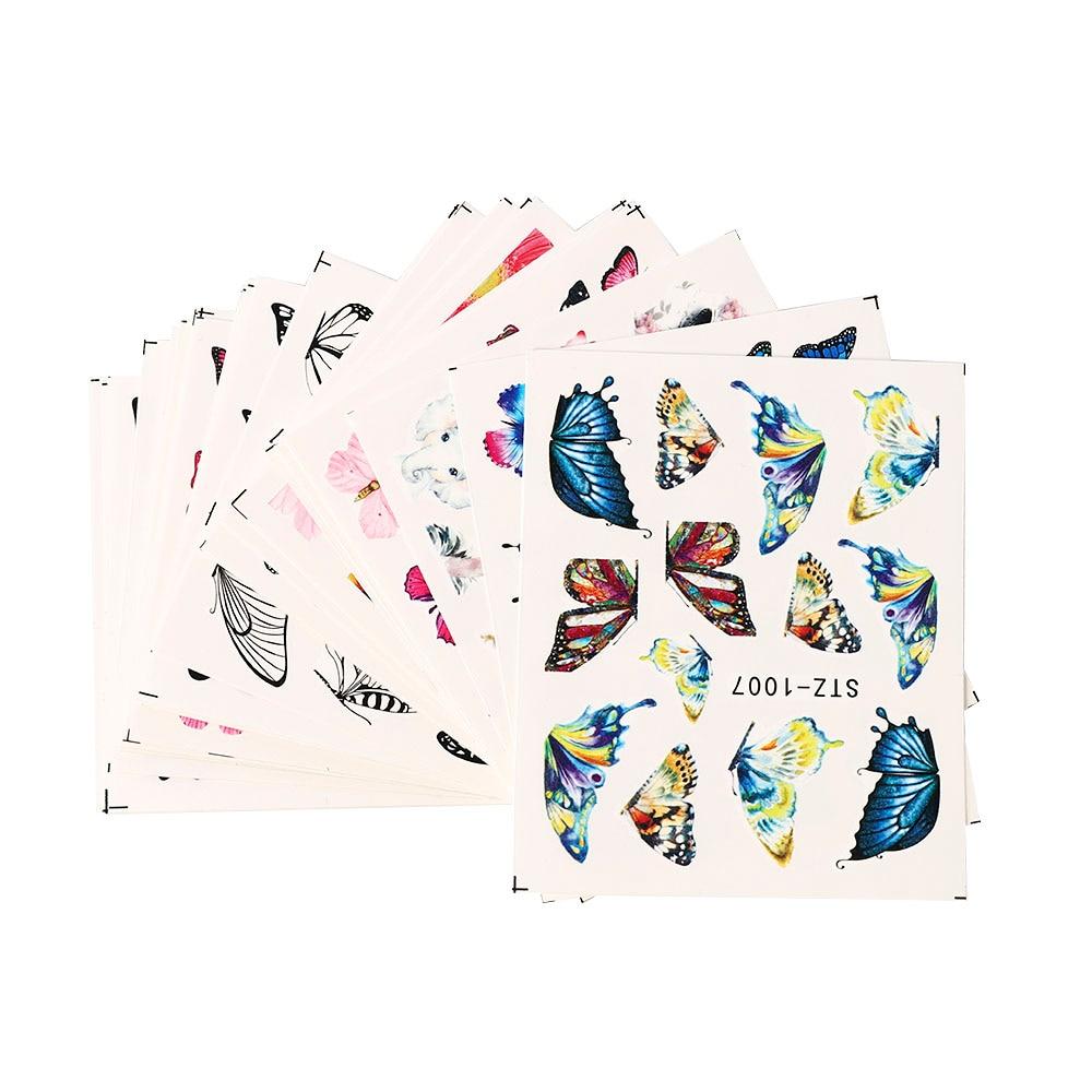 50 Вт, 30 Вт, 24 шт наклейки для ногтей цвет синий, черный; Большие размеры Переброска воды набор наклейки для ногтей декор с ярким цветочным при...
