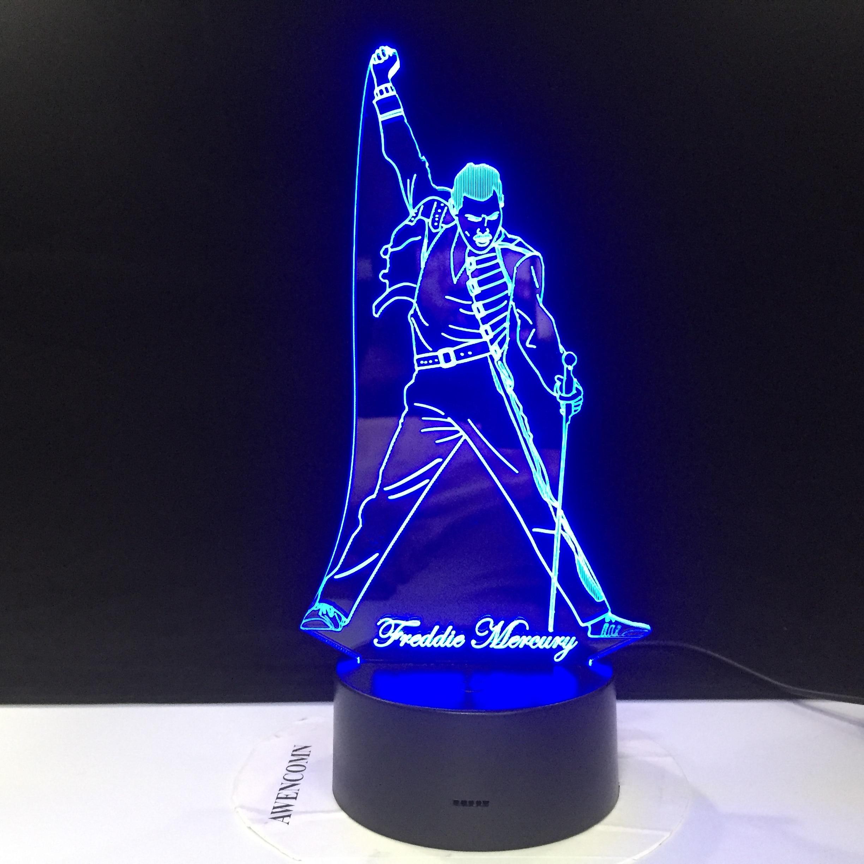 Queen Freddie Mercury Figure 3d Lamp Led Night Light Touch Sensor Baby Kids Nightlight For Office Room Decorative Lamp Dropship