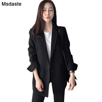 2019 Elegant Black Single Button Women Blazer New Autumn Coats Vintage Solid Loose Office Work Wear Tops Outerwear Female Jacket button through solid outerwear