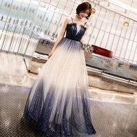 Navy Blue Bride Party Dress Evening Cheongsam Womens Sexy Backless Costume Dress Long Wedding Qipao Retro Ball Gown Vestido