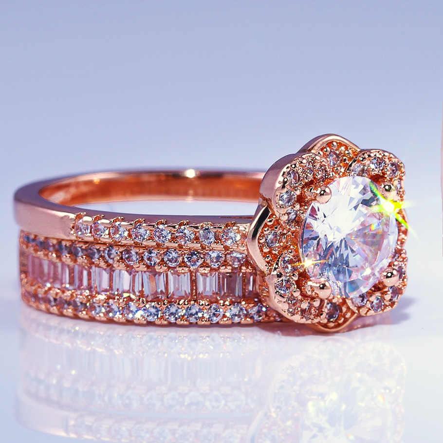 Huitanใหม่โรแมนติกดอกไม้แหวนคุณภาพสูง 2PCชุดเจ้าสาวสำหรับผู้หญิงRose Goldสีหมั้นผู้หญิงนิ้วมือแหวน