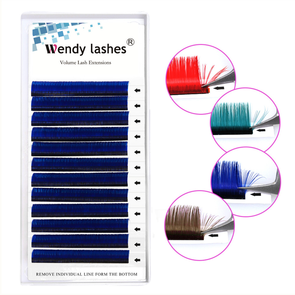 New 0.0.07mm Easy Fans False Lashes Gradient Blue+green+red+brown Mixed In One Tray Eyelash Individual Colored Eyelash Extension