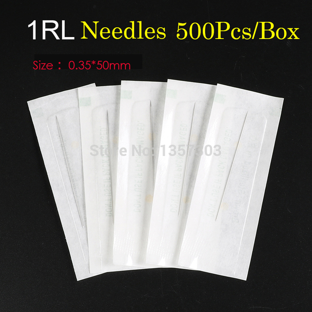 500Pcs/box 1R Single Round Needles For Eyebrow/Eyeliner/Lips Permanent Makeup 0.35*50mm Cosmetic Tattoo Needles 1