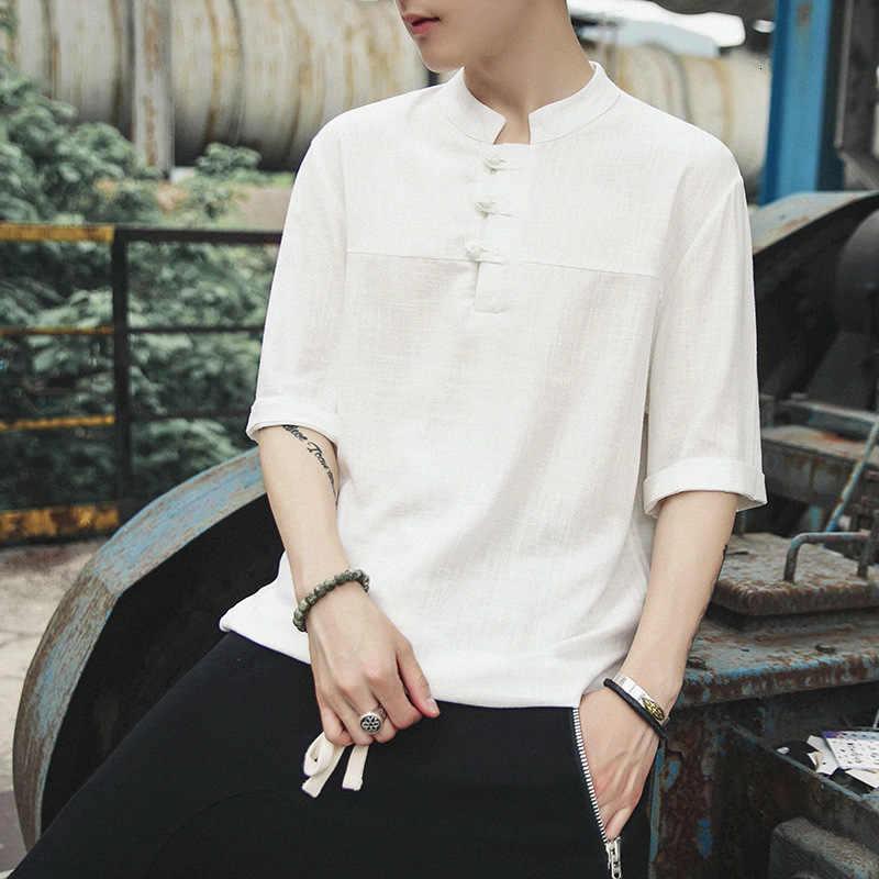 Musim Panas Lengan Pendek Linen T-shirt Pria Gaya Cina Tombol Plus Ukuran Longgar Blus Pria Tradisional Hanfu Kung Fu Tee Tops pakaian