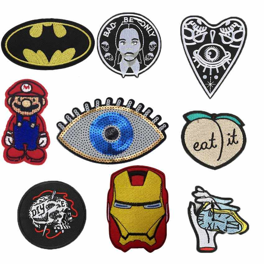 1 PC Vintage Ogen Perzik Borduurwerk Patches voor T-shirt Ijzer op Strepen Soldaat Graf Applicaties Kleding Stickers Kleding Badges