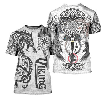Tessffel NewFashion Viking Symbol Tattoo Viking Warriors Harajuku Unisex 3DPrint Summer Short Sleeve Streetwear T-shirts A5 2