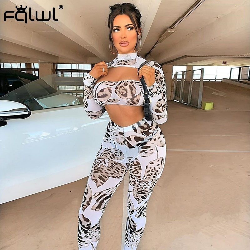 FQLWL Leopard Print Summer Sexy Club 2 Piece Outfits For Women Hollow Out Mesh Two Piece Set Women Tracksuit Crop Top and Pants