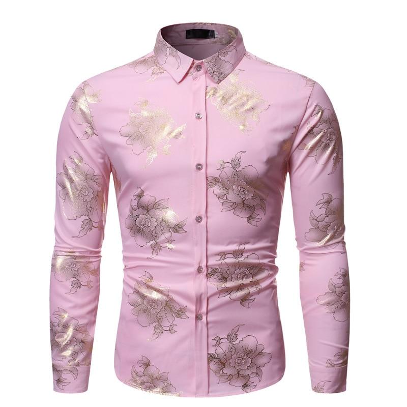 Pink Bronzing Floral Shirt Men 2019 Luxury Brand Slim Fit Mens Dress Shirts Party Nightclub Wedding Tuxedo Shirt Male Camisas