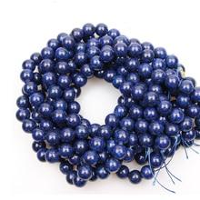 цена 4/6/8/10mm Natural Lapis Lazuli Beads Blue Gems Stone Round Beads for DIY Bracelets Beaded Jewelry Making Mineral 15'' Strand онлайн в 2017 году