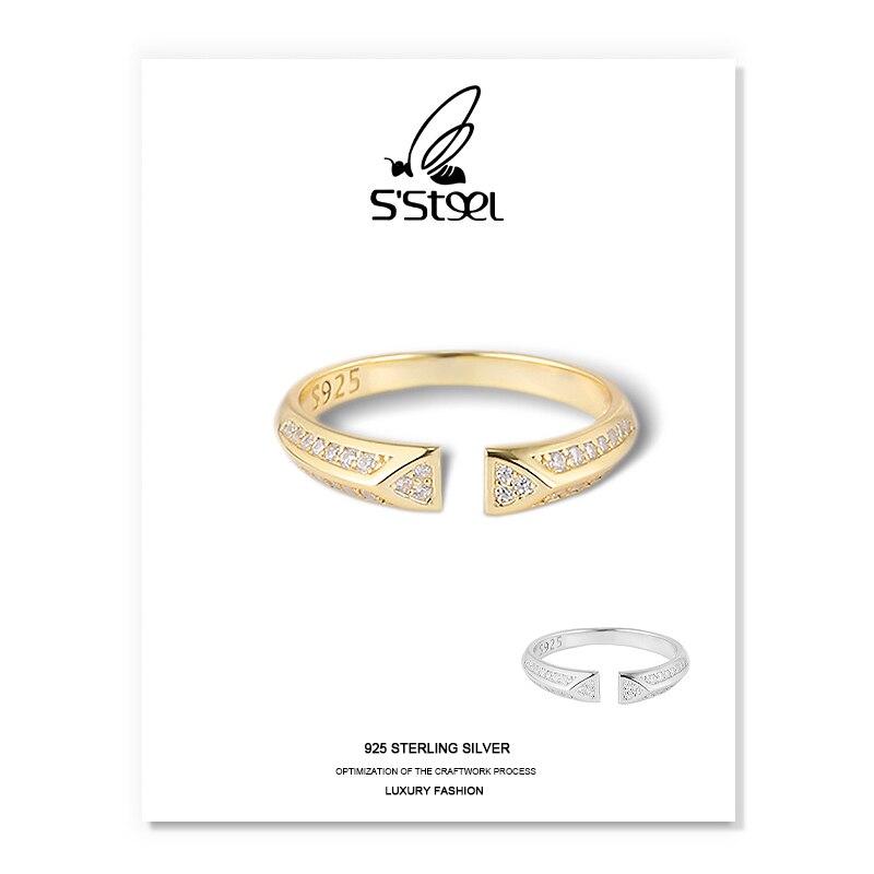 SSTEEL Zircon anneaux pour femmes 925 Argent Sterling minimaliste à la mode géométrique ouvert anneau Bijoux Femme Argent 925 Fine Bijoux