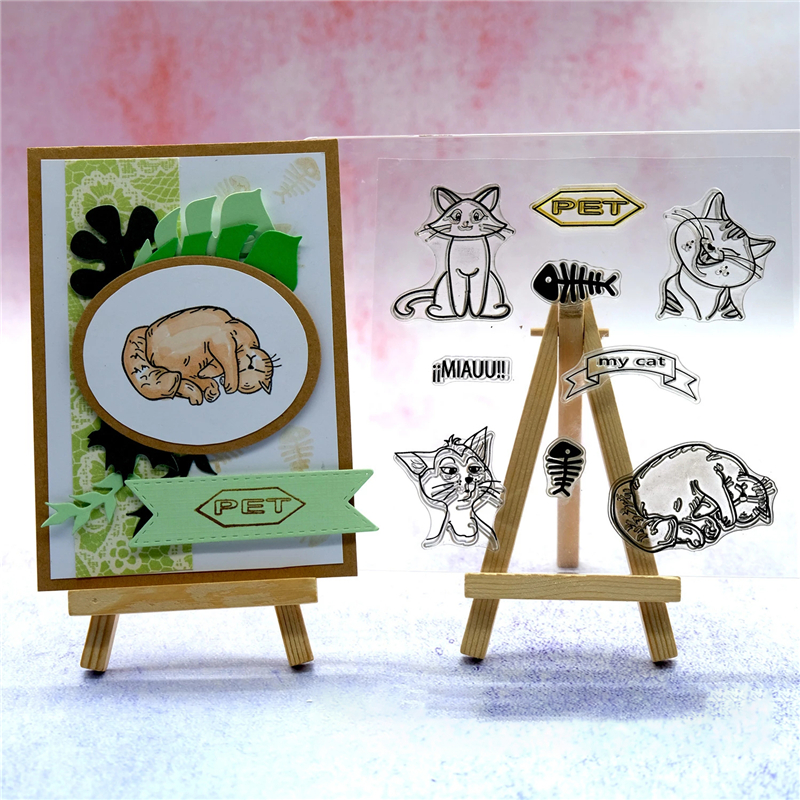 Cat Tag Flower Clear Stamps 2019 Rubber Transparent Silicone Seal for DIY Scrapbooking Photo Album Stamp Crafts Decoration