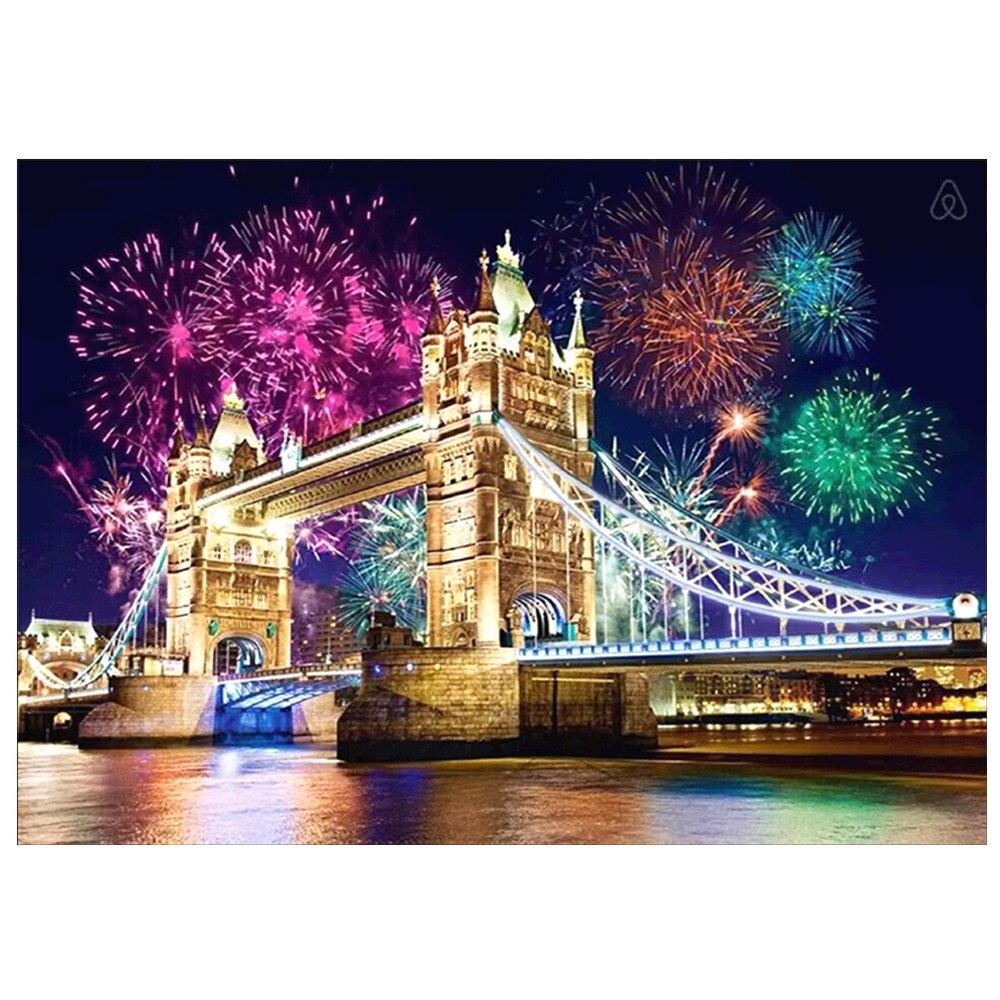 Londres pont 5D diamant peinture bricolage cercle complet diamant broderie kits mosaïque décoration de la maison ornements
