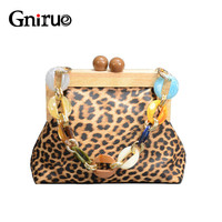 Luxury Leopard Pu Soft Leather Wood Clip Bags Women Messenger Bags Acrylic chain Crossbody bag Clutc Purse And Handbags Wallet