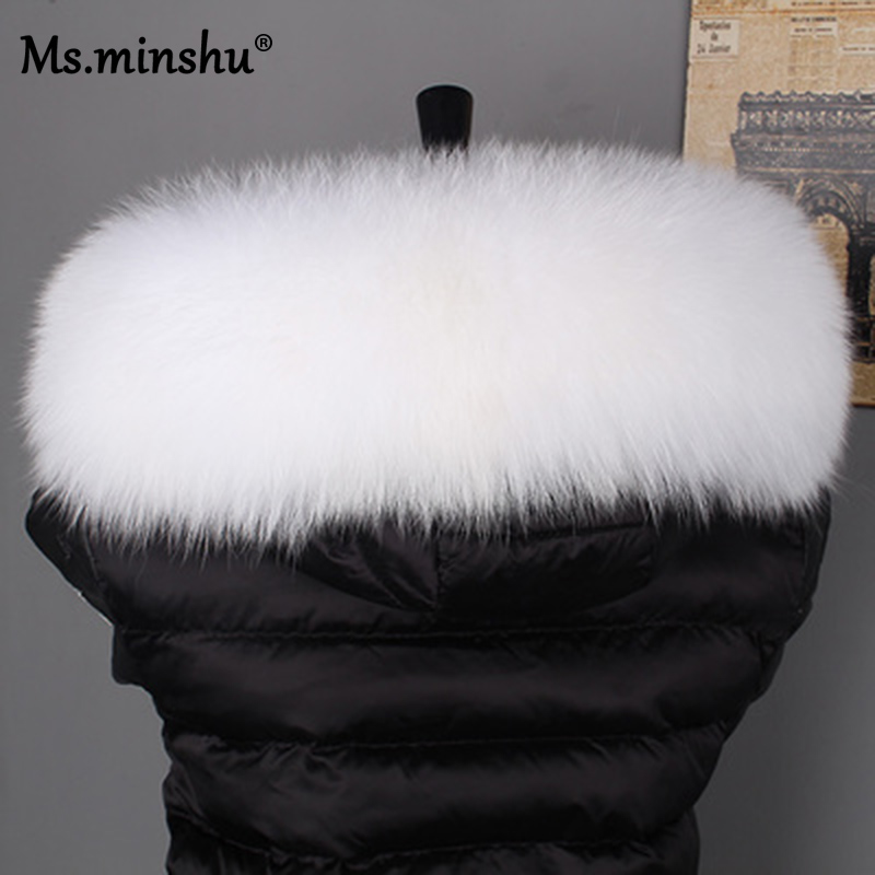 Image 3 - Ms.MinShu Fox Fur Collar For Hood Natural Fox Fur Hood Trim Scarf Big Fur Collar 100% Real Fox Fur Collar Trim Custom Made-in Women's Scarves from Apparel Accessories on AliExpress