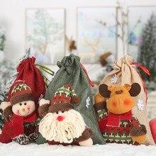 Linen Cloth Christmas Gift Bags Drawstring Treat Bag Christm