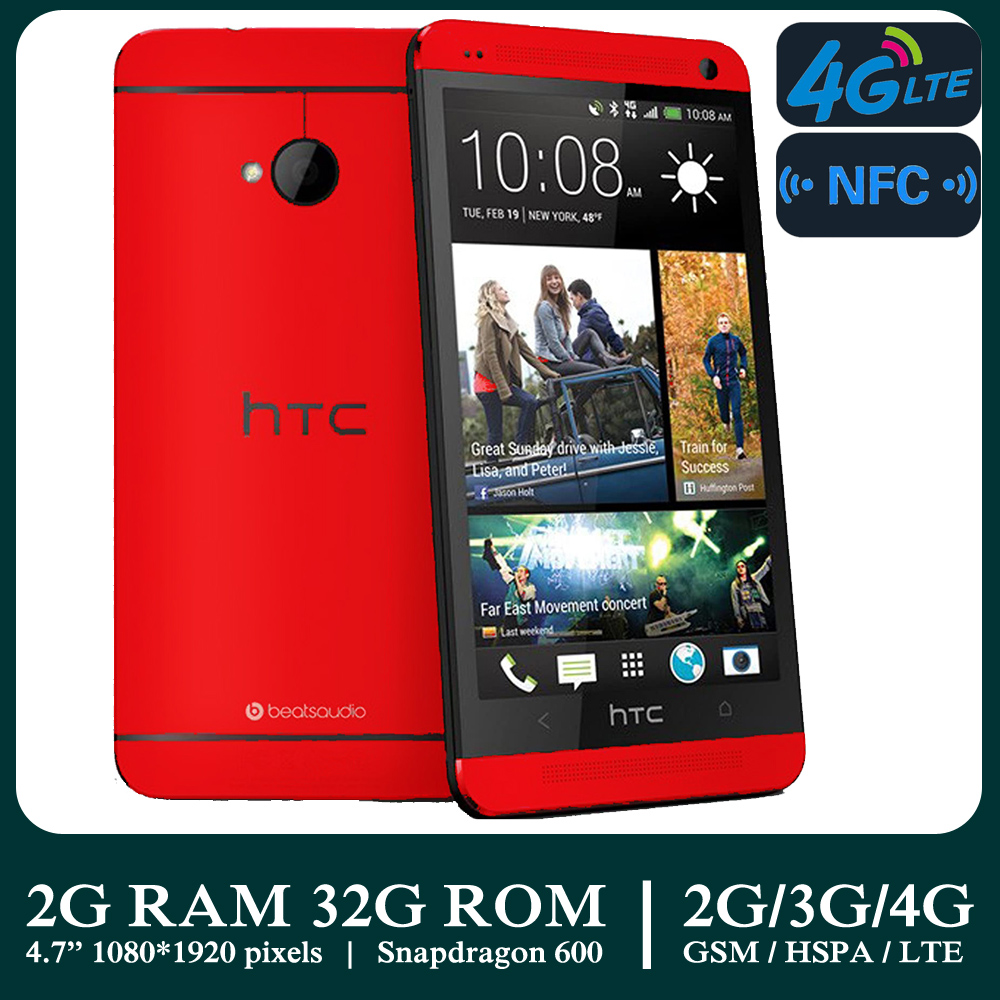 Б/у смартфоны HTC M7 1080*1920 Quad Core 2G/3G/4G LTE NFC 2G RAM + 32G ROM Android, разблокированные недорогие мобильные телефоны, Wi-Fi